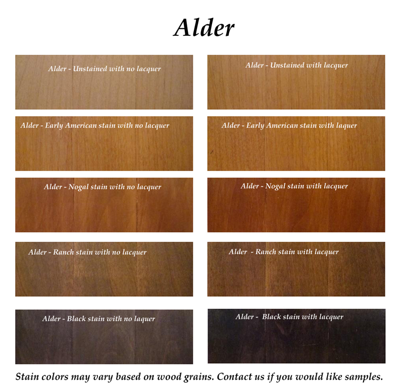 Click Here To View Alder Wood And Stains